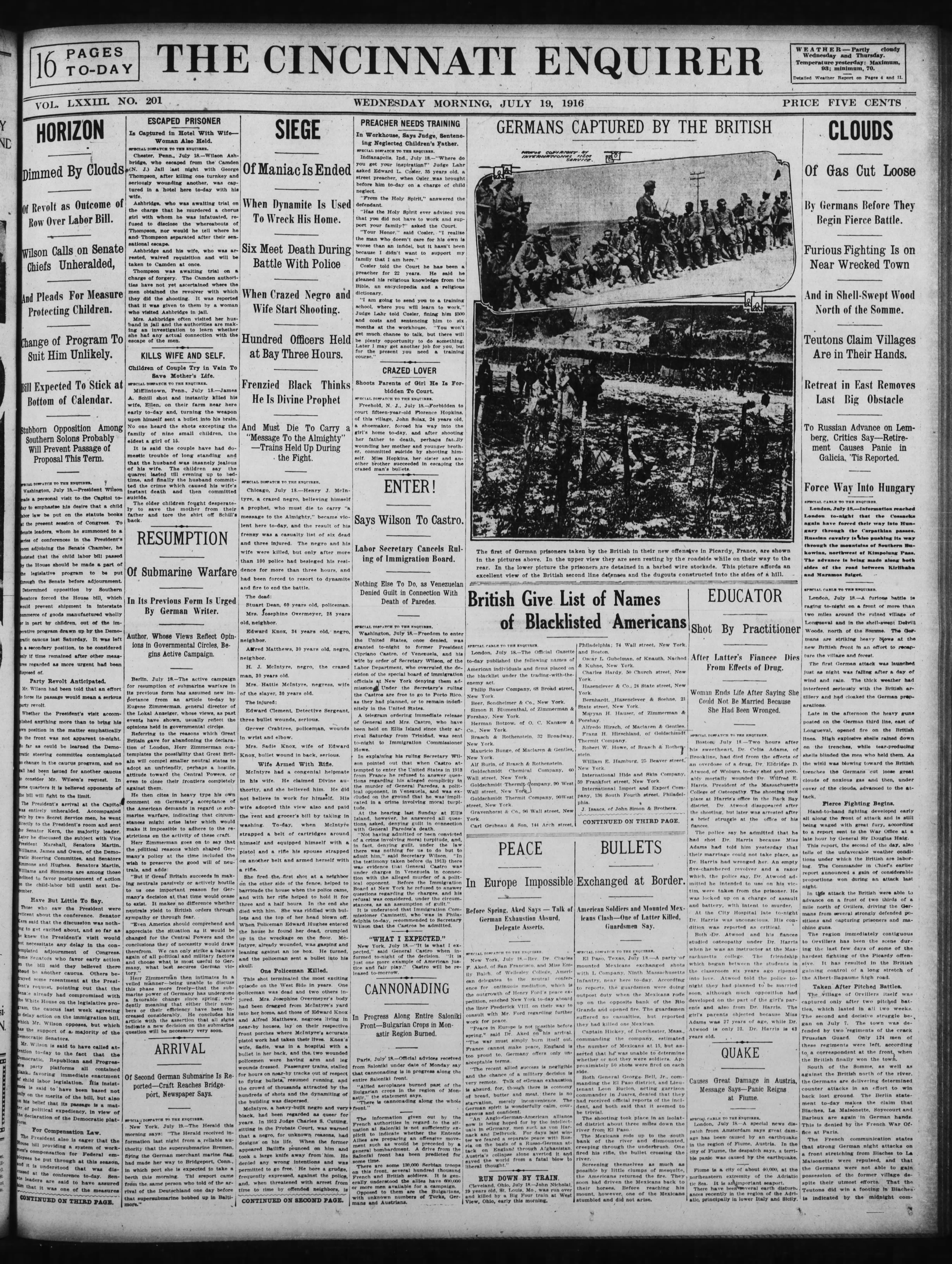 100 Years Ago Today_The_Cincinnati_Enquirer_Wed__Jul_19__1916_